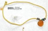 艾文拍的美美水晶:麥芽糖般的黃水晶玫瑰墬子搭配金黃色中國結繩--金色秋天