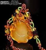 艾文拍的美美水晶:2010/05/27之如意吉祥臻珠蜜珀項鍊