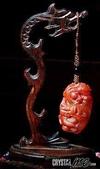 艾文拍的美美水晶:祥龍吐珠紅兔毛水晶巧雕吊飾