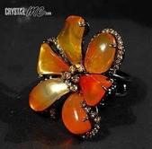 艾文拍的美美水晶:盛開--橘色蛋白石花朵戒指