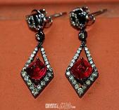 艾文拍的美美水晶:舞會-寶石紅尖晶石鑲鑚黑K金古典耳環