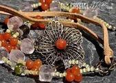 艾文拍的美美水晶:2010/04/01之銅製花朵粉晶皮繩長項鍊