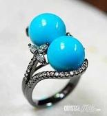 艾文拍的美美水晶:相思如海--土耳其石鑲鑽戒指