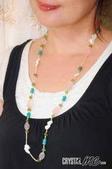 艾文拍的美美水晶:粉晶與綠橄欖石及綠松石等搭配的長鏈
