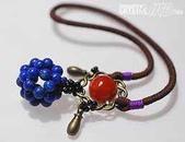 艾文拍的美美水晶:青金石紅兔毛水晶珠髮飾