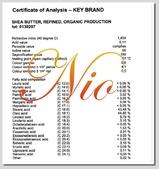 基礎油-脂類-乳油木果脂,乳油木,未精製乳油木果脂,芒果脂,可可脂,蜜蠟,蜂蠟,白棕櫚油(硬棕):COA-SHEA BUTTER REFINED ORGANIC LOG.jpg